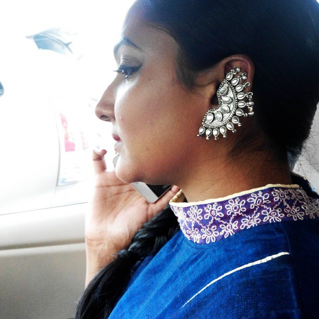 Kasuti on a royal blue fabric - is what you need on a dull day via