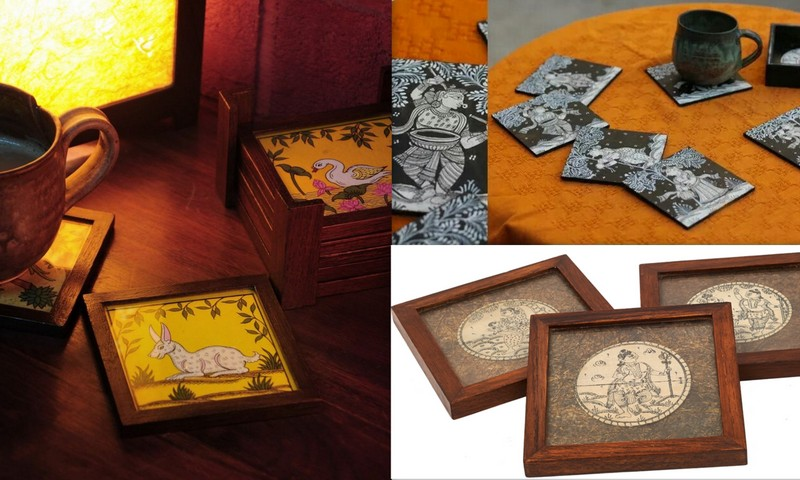 Art on a table...coasters via