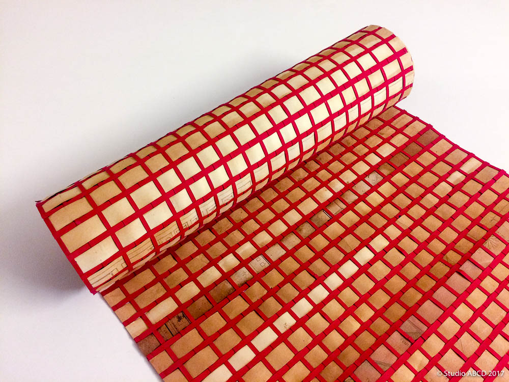 woven paper, paper weaving, upcycle, paper, printing, interiors, architecture