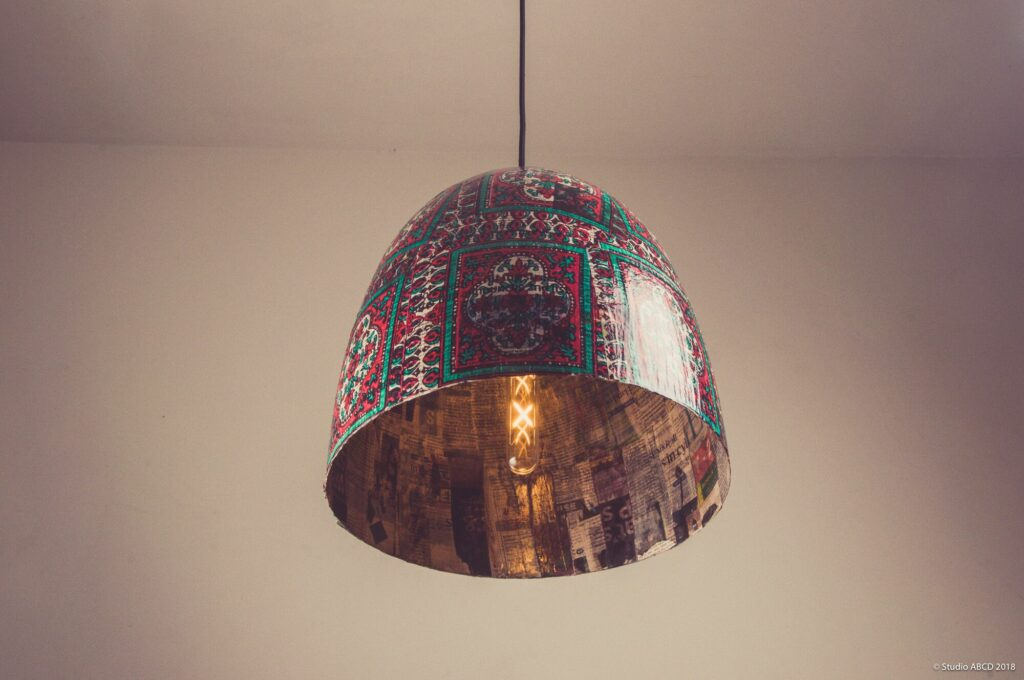 upcycled paper, recycled, stationery, paper mache, lamp, made in india, handmade