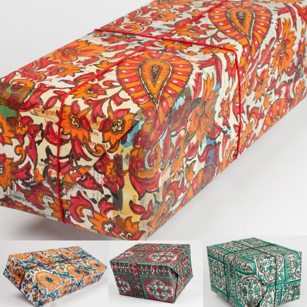sustainable, wrapping paper, recycled, upcycled, madeinindia,