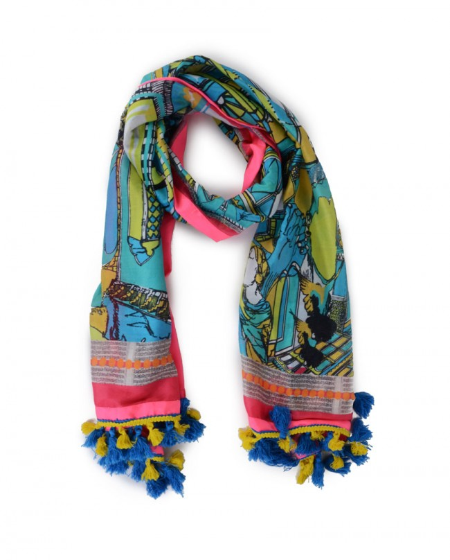 Charu Desi - Turquoise Blue Silk Scarf - Exclusively.in