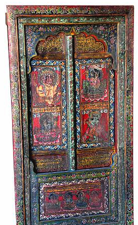Hand carved and painted door and frame