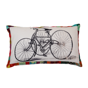 Cushion with a bicycle