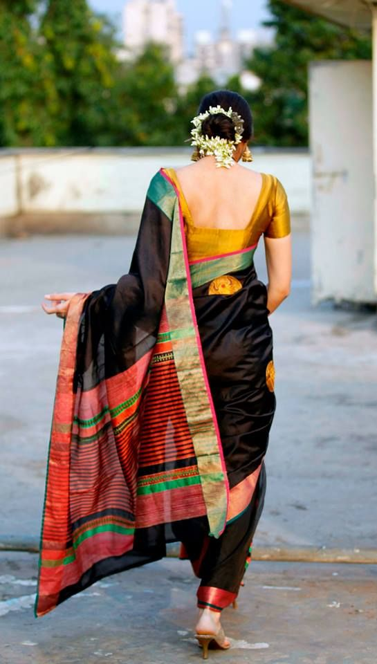 black-saree-with-gold-and-colours