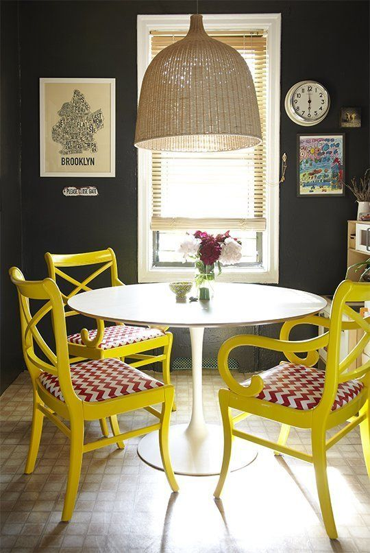dining sunshine in bright yellow with some red via