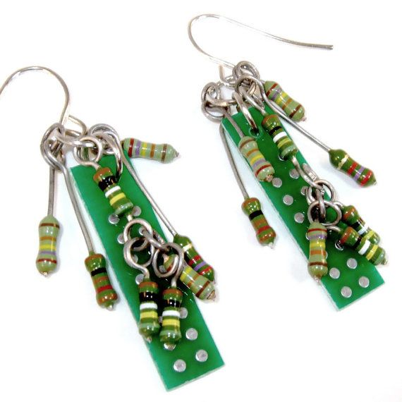 Earrings out of a circuit board - Yummy! via