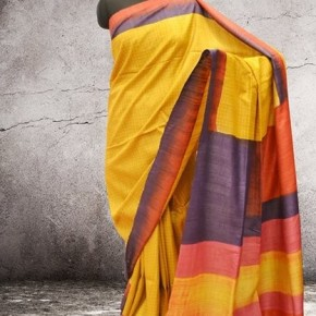 Gorgeous Yellow Sari from Weavers's Studio, Kolkata