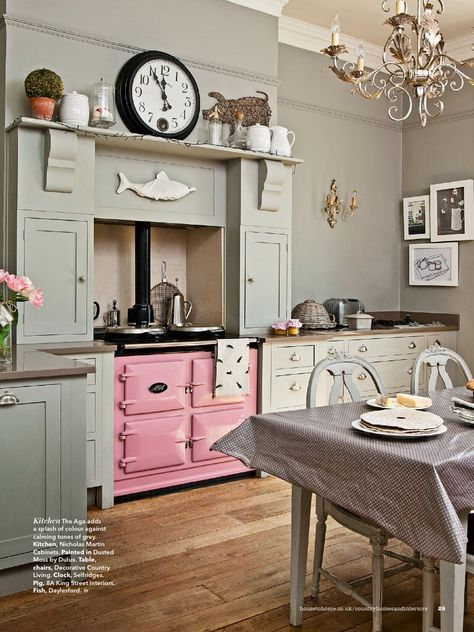 Pastel colours, an 'Aga' oven, the quirkiness...love them all...via
