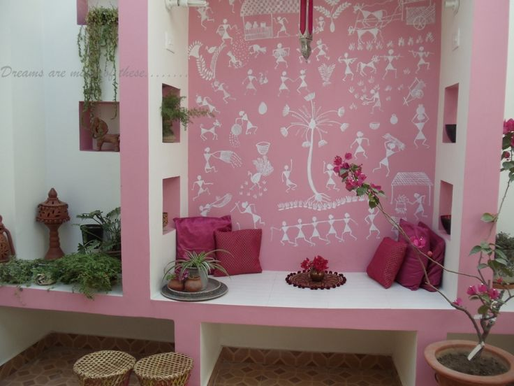 Warli art in pink...dream in pink, if you can...via