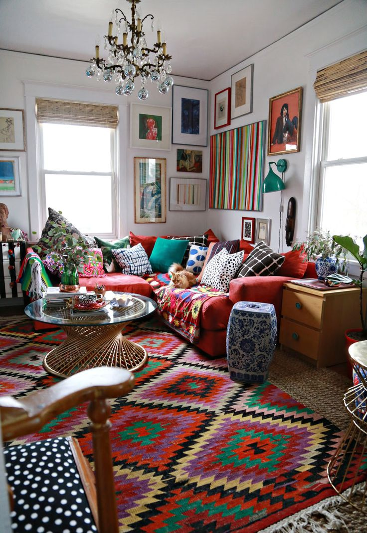 Bright eclectic rug via