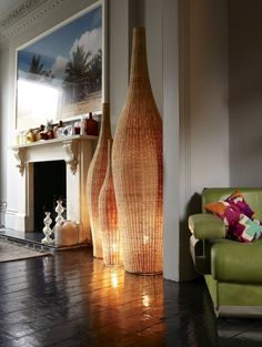 Floor standing lamps in Rattan - stunning...via