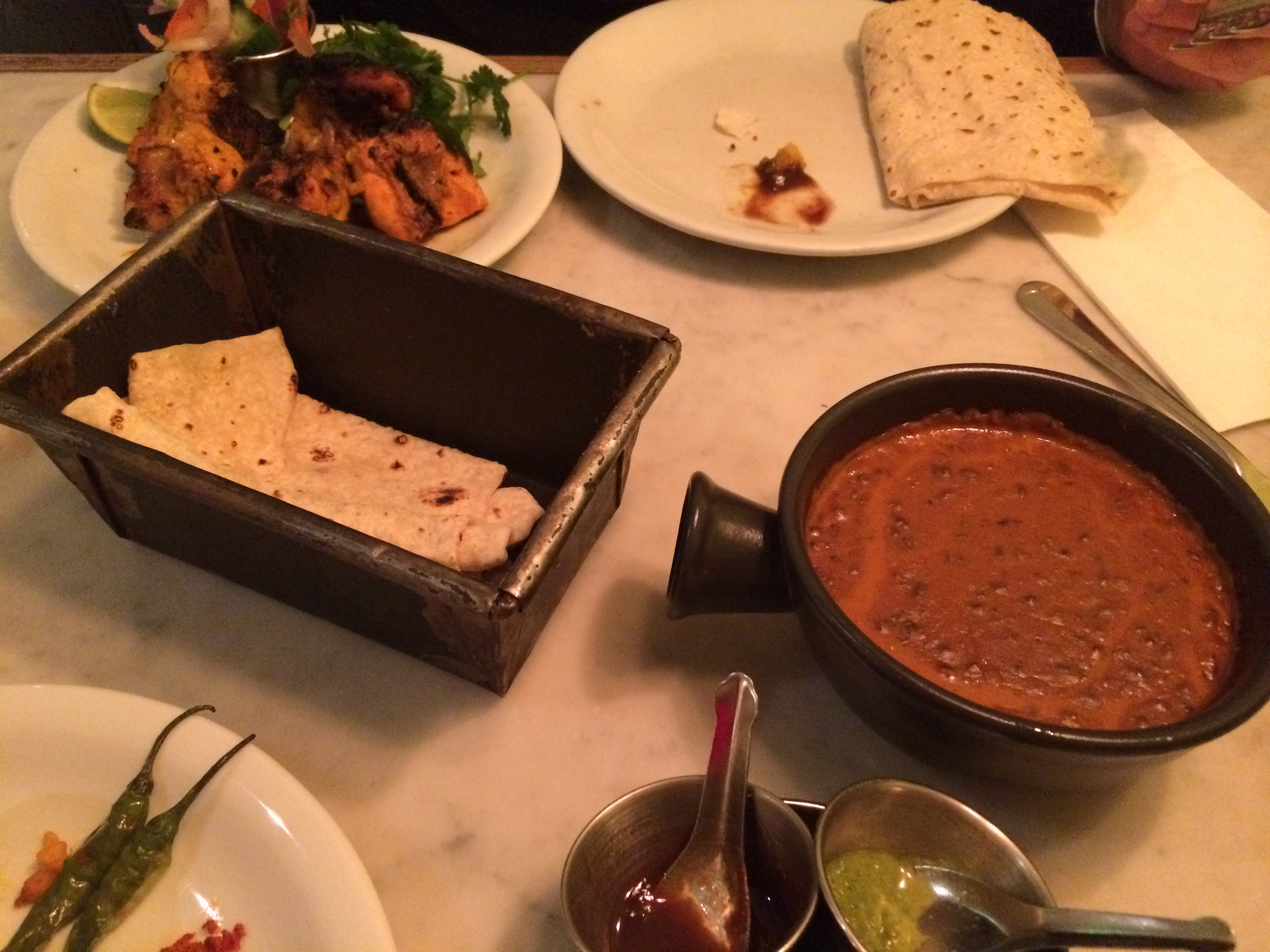 dishoom-cafe-makhani-daal-roomali-roti-paneer-tikka-chutneys