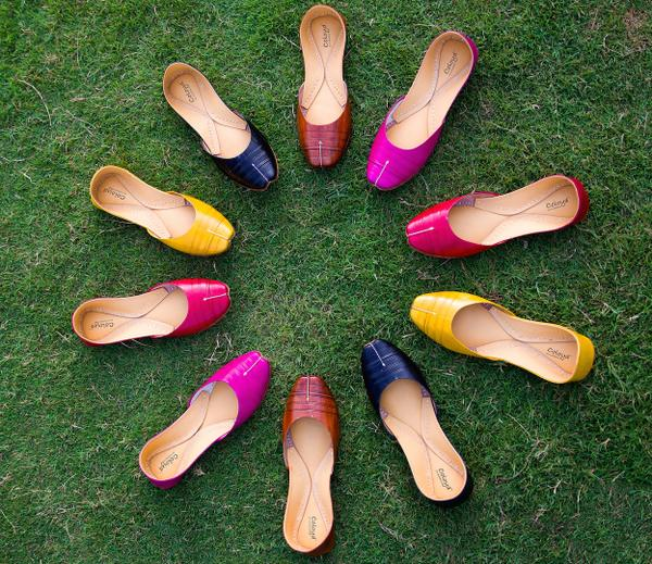 Stunning 'Juttis' in bright colours; traditional yet modern via
