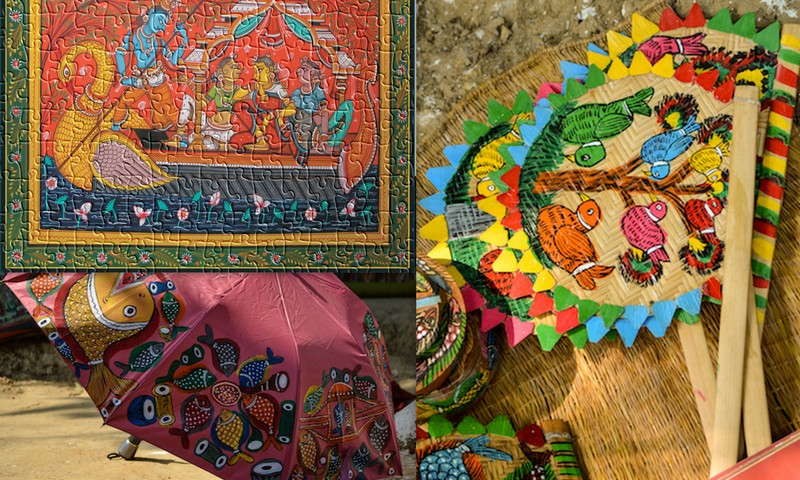 A jigsaw puzzle, an umbrella and even fans adorned with Patachitra...via 1, 2, 3