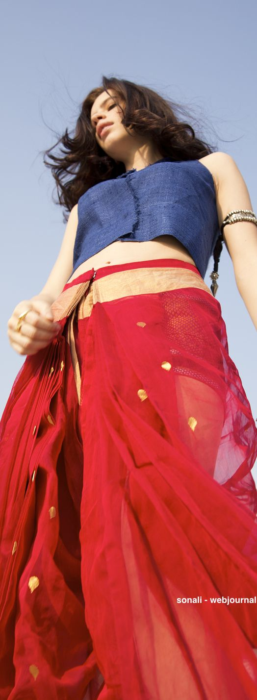 Stylish in red; drape this saree during the day or for the evening; perfect everytime via