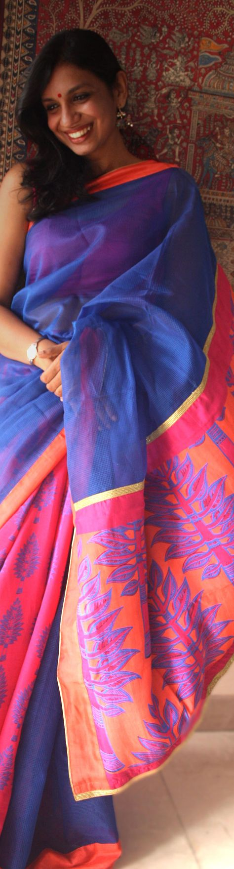 Pretty in a gorgeous Chanderi? Stunning saree from the very talented UDD team via