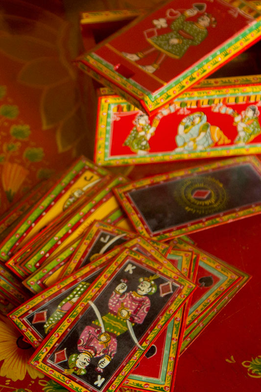 Hand painted in Ganjifa style - playing cards with its case via