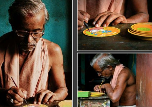 An artist at work, creating 'Ganjifa' playing cards via