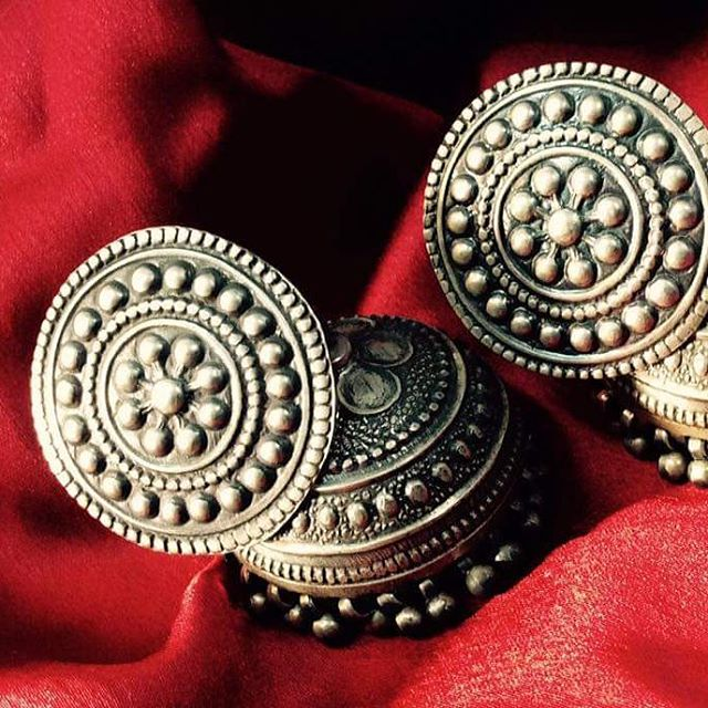 Silver jhumkas- just perfect with that black dress via Bombay Bead