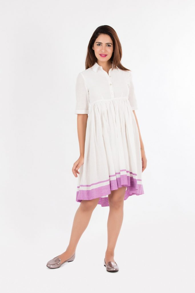 White high-low Khadi dress for a fun day out by Red Sister Blue