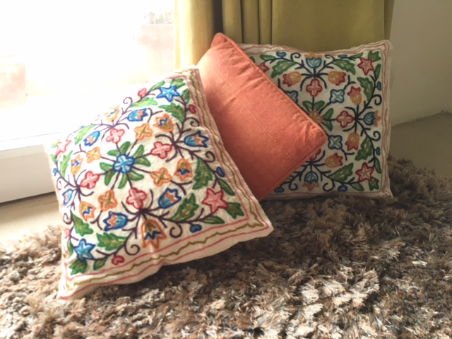 cushions, handmade, hand-embroidered, india